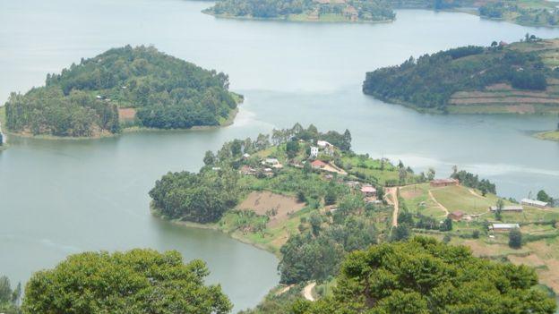 Aerial View Of Lake Bunyonyi